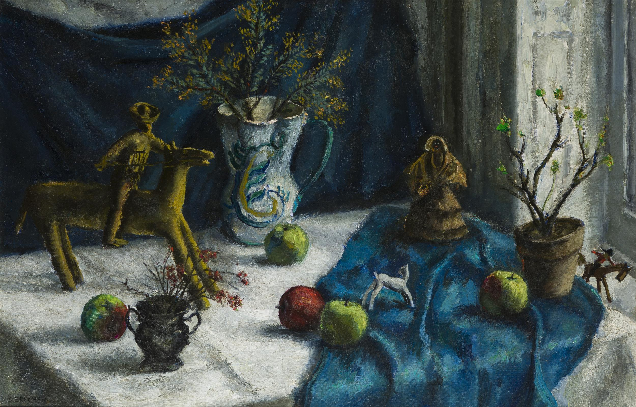 "Samuel Brecher, (1897-1982 New York, NY), Still life with fruit and dolls, Oil on canvas laid to canvas, 25"" H x 38.5"" W"