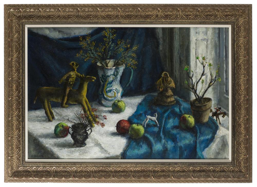 Samuel Brecher, (1897-1982 New York, NY), Still life with fruit and dolls, Oil on canvas laid to canvas, 25