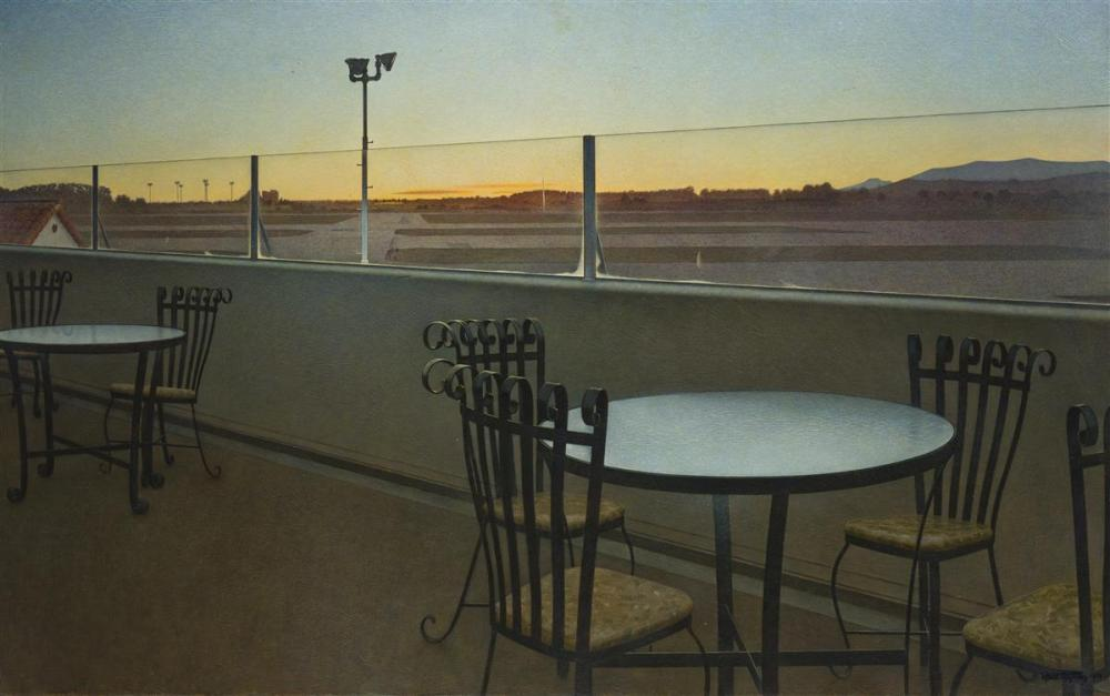 "Wade Reynolds, (1929-2011 Los Angeles, CA), Santa Monica airport, 1970, Oil on canvas, 29.75"" H x 48"" W"