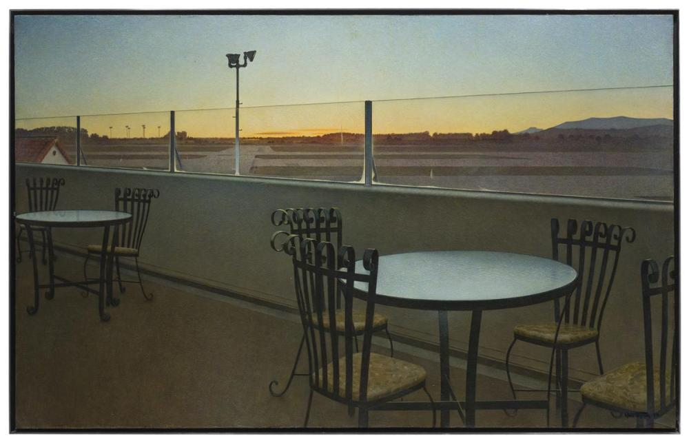 Wade Reynolds, (1929-2011 Los Angeles, CA), Santa Monica airport, 1970, Oil on canvas, 29.75