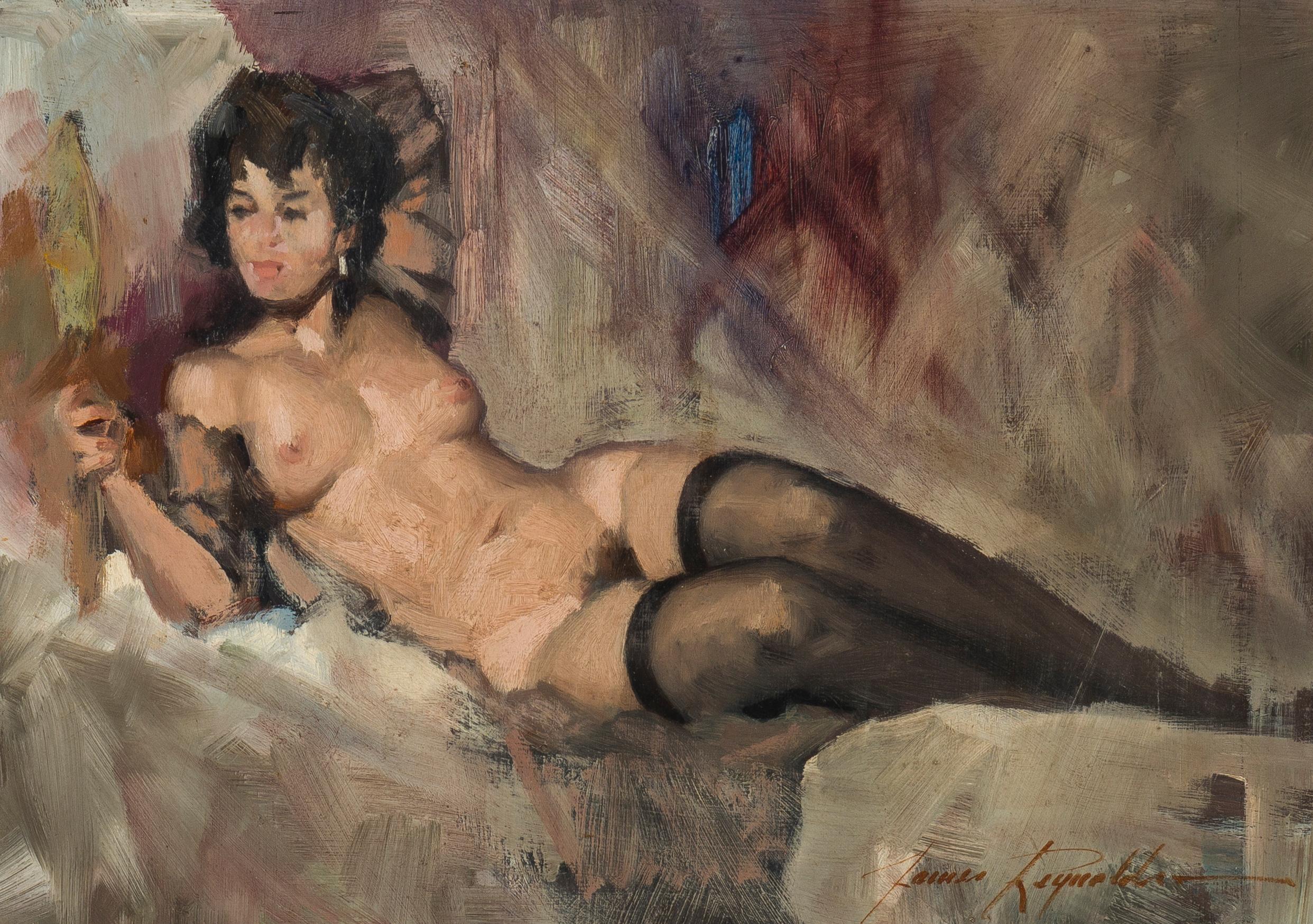"James Elwood Reynolds, (1926-2010 Scottsdale, AZ), Reclining nude, Oil on masonite, 9.5"" H x 13"" W"