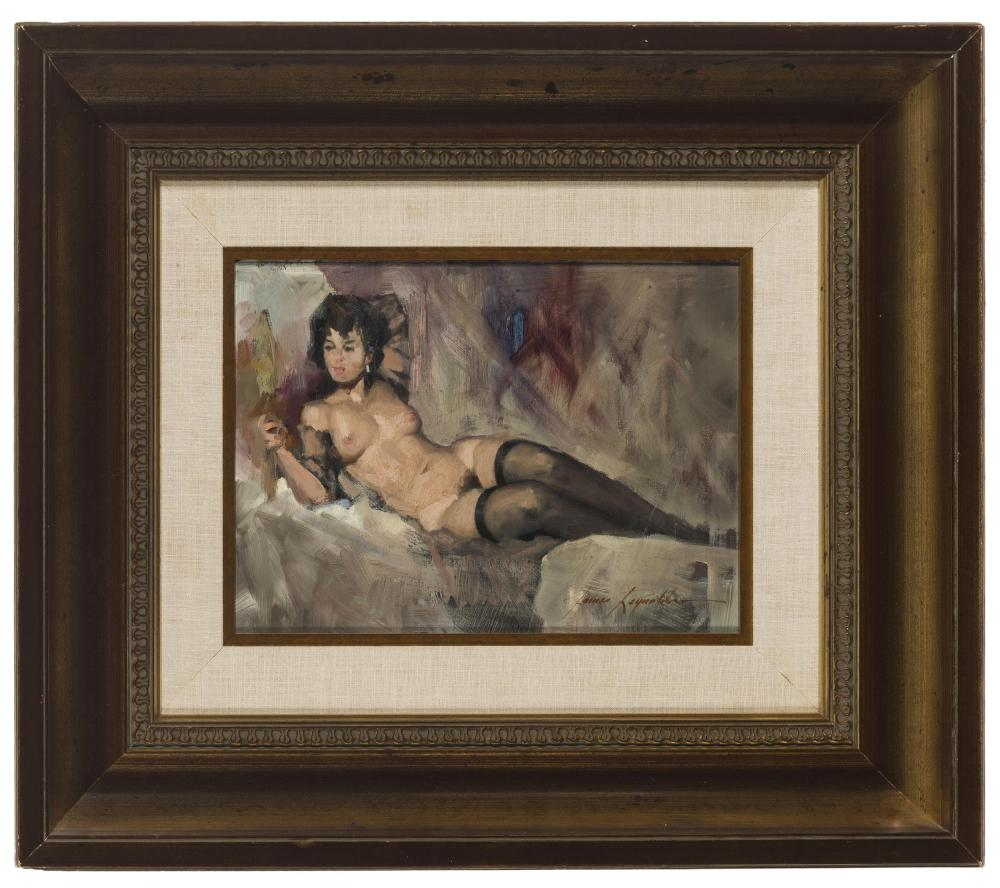 James Elwood Reynolds, (1926-2010 Scottsdale, AZ), Reclining nude, Oil on masonite, 9.5