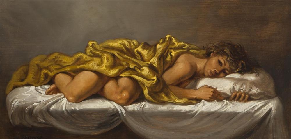 "Joseph Sherly Sheppard, (1930-* American), Nude draped in gold, 1960, Oil on masonite, 12"" H x 24"" W"