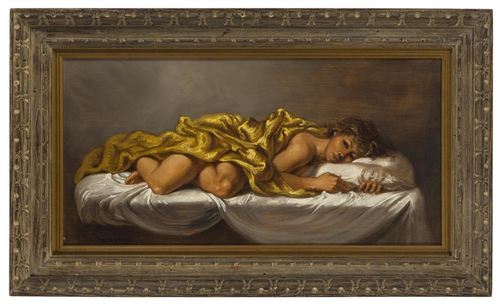 Joseph Sherly Sheppard, (1930-* American), Nude draped in gold, 1960, Oil on masonite, 12