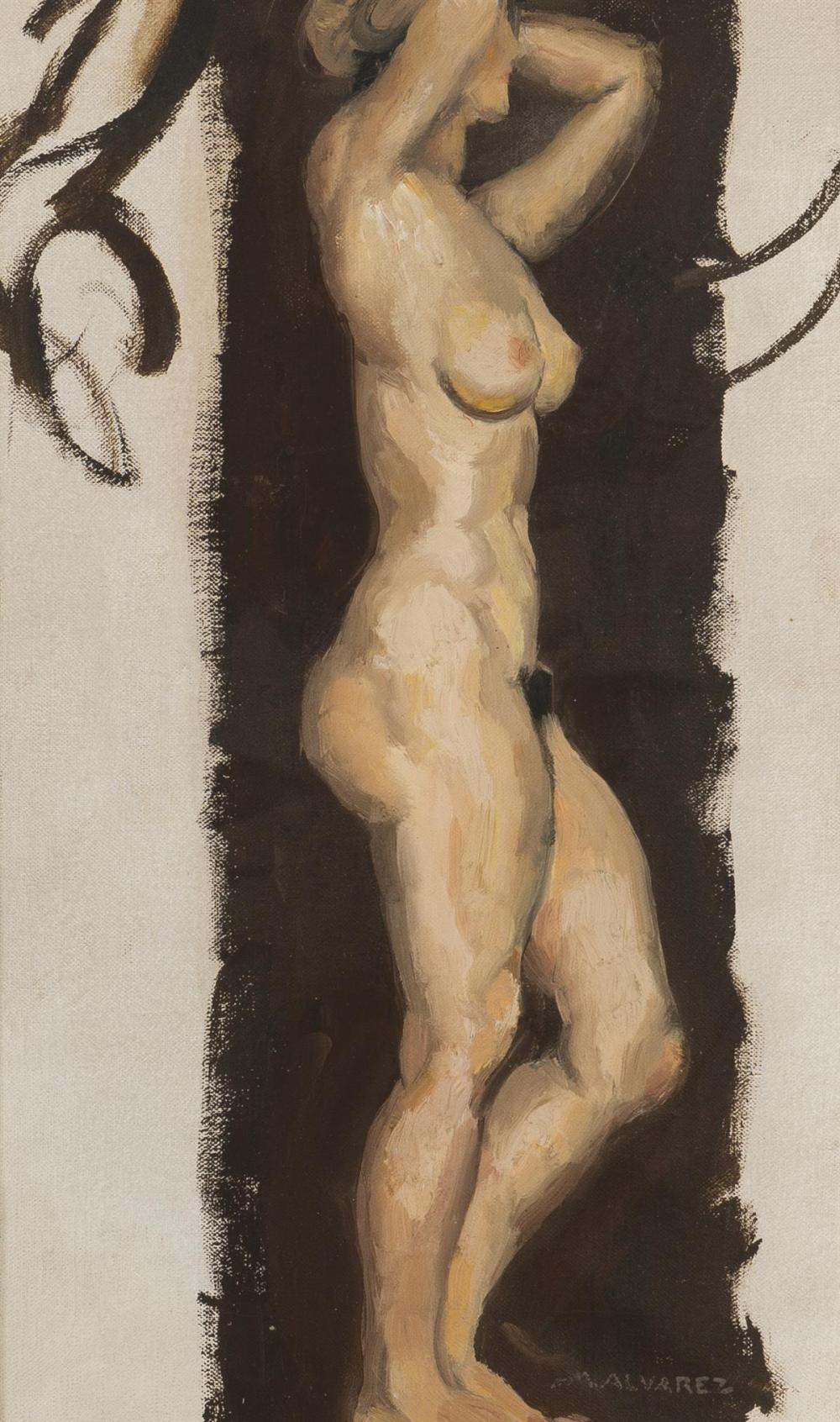 "Mabel Alvarez, (1891-1985 Los Angeles, CA), Study of a nude, Oil on canvas, 18"" H x 11"" W"