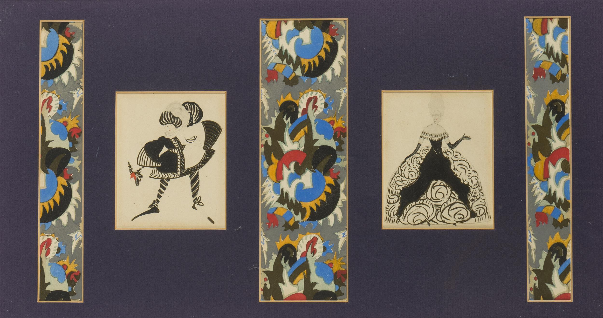 Simon Lissim, (1900-1981 New York, NY), Multiple paneled Costume/Set designs; five works in one frame, Gouache on paper under glass, Si