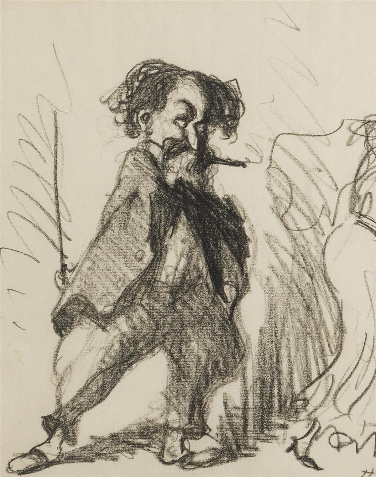 "Robert Henri, (1865-1929 New York, NY), ""The Flirt"", Conte Crayon on paper under glass, Sight: 9.25"" H x 7.5"" W"