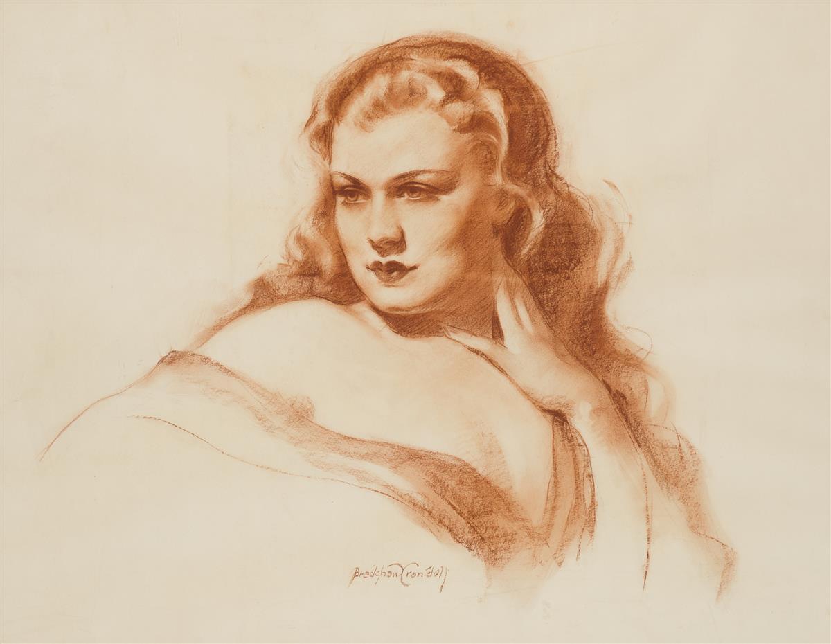 "Bradshaw Crandell, (1896-1966 American), Portrait of a beauty, Red crayon on paper under Plexiglas, Sight: 20.5"" H x 26.5"" W"