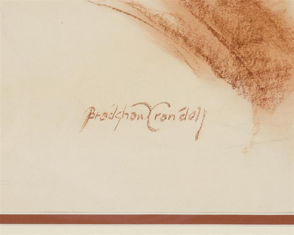 Bradshaw Crandell, (1896-1966 American), Portrait of a beauty, Red crayon on paper under Plexiglas, Sight: 20.5