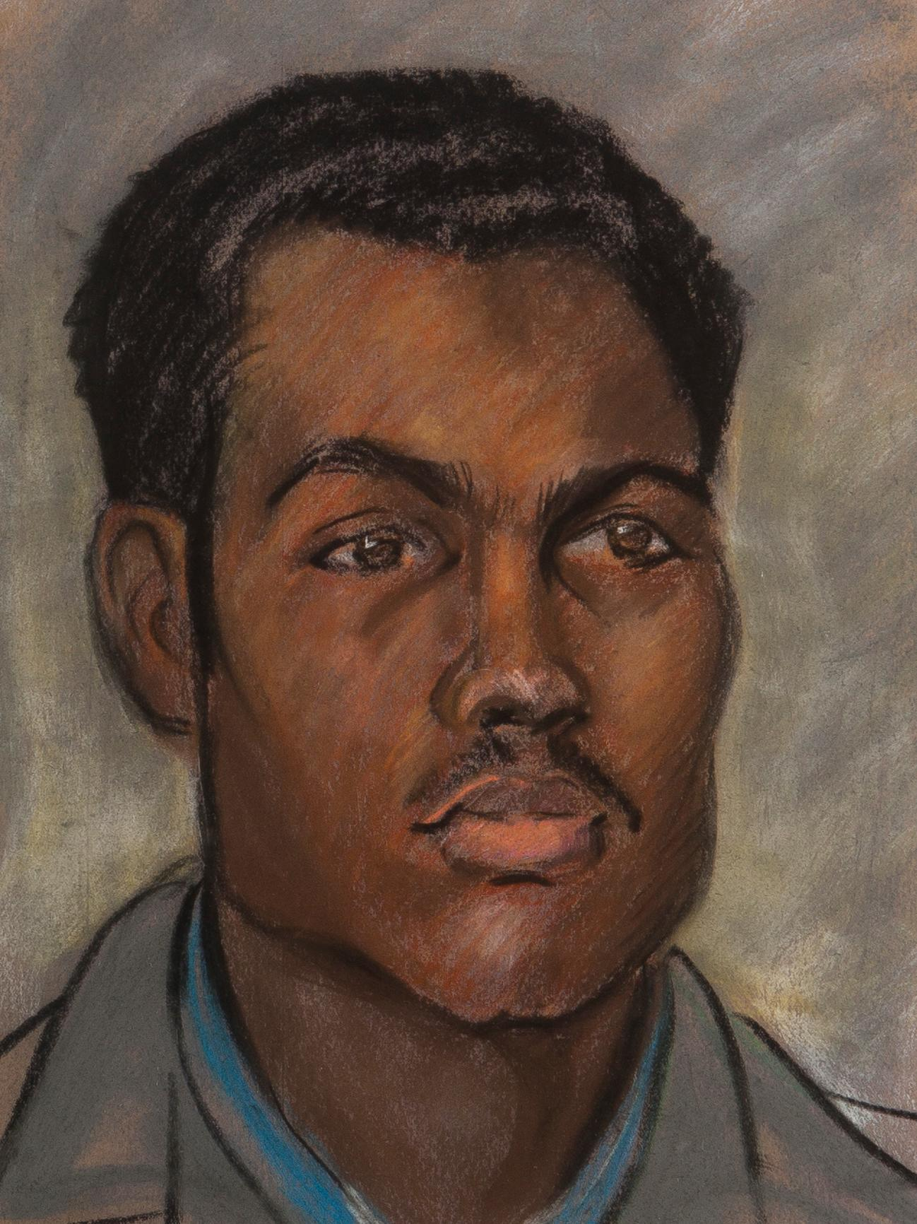 """Robert B. Young, (20th Century Oakland, CA), Self-portrait, Pastel on paper under glass, Sight: 12.75"""" H x 9.75"""" W"""