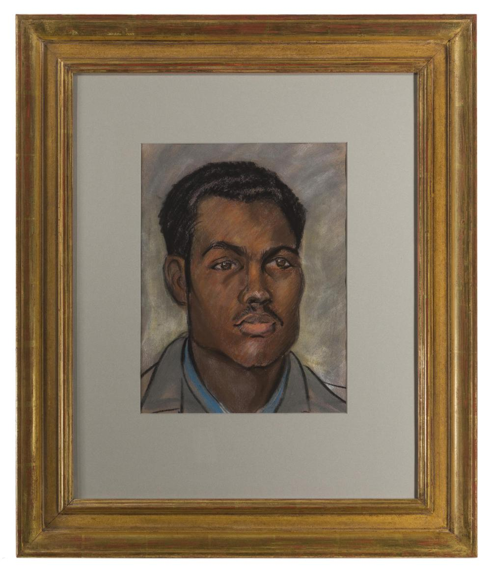 Robert B. Young, (20th Century Oakland, CA), Self-portrait, Pastel on paper under glass, Sight: 12.75
