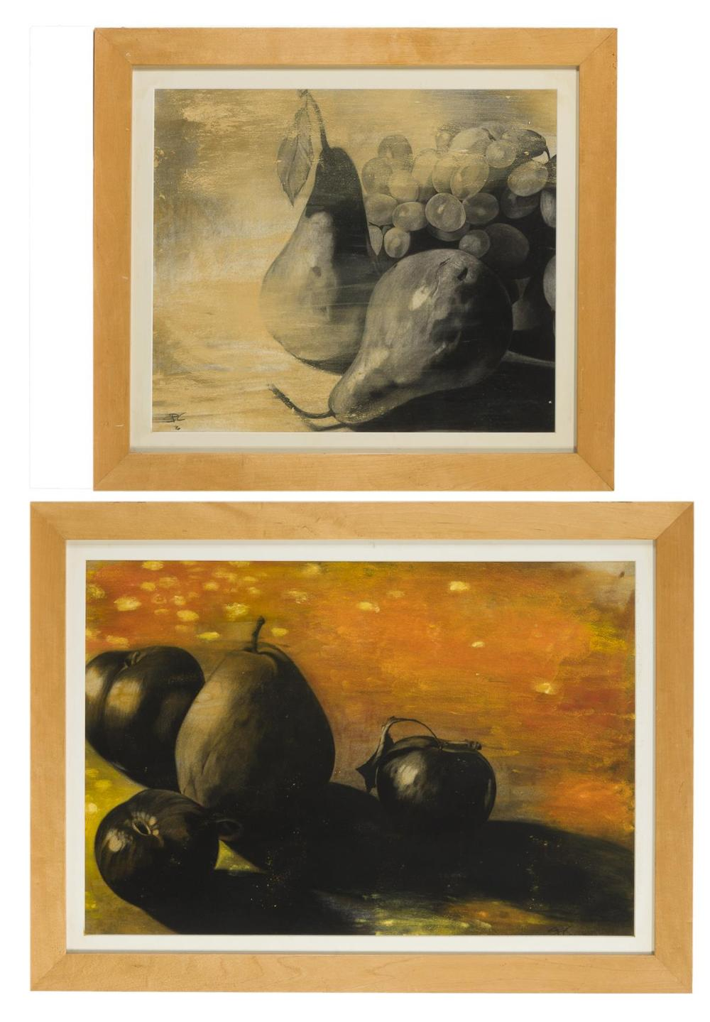Stephen P. Curry, (20th Century San Diego, CA), Still lifes with fruit, 1996; two works, Charcoal and powder pigments on paper under gl