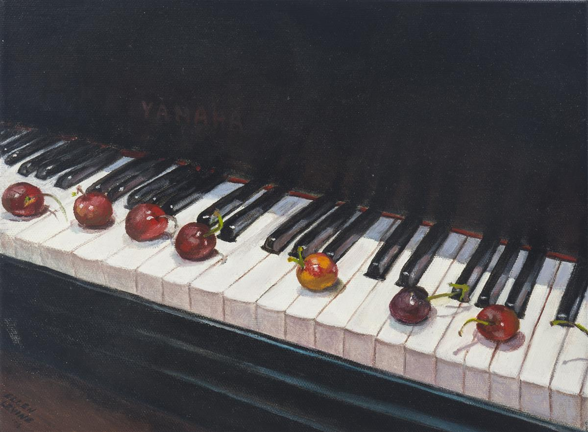 "Ellen Levine, (20th Century American), ""Cherries on the Piano"", Oil on canvas, 9"" H x 12"" W"