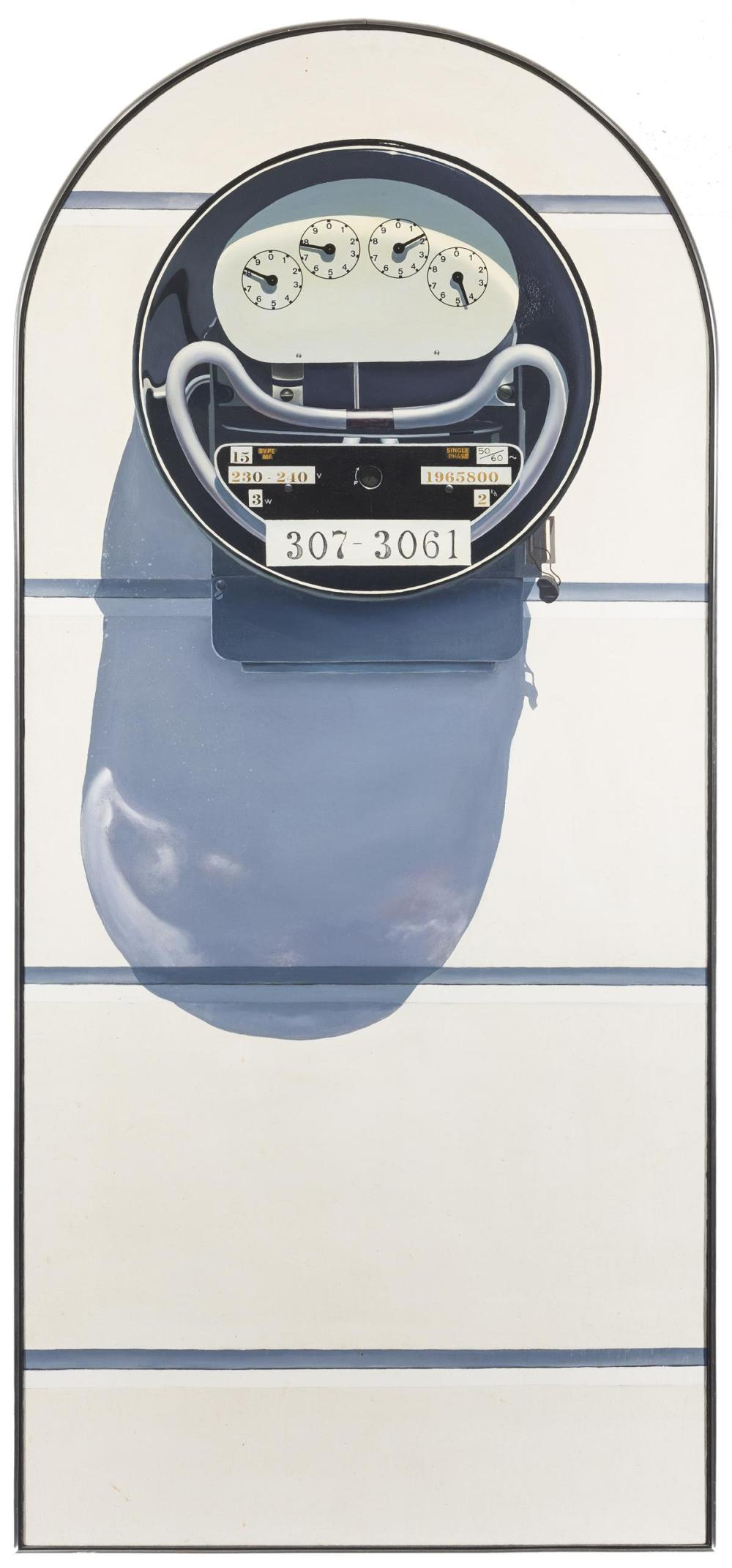 "Bruce Everett, (1942-* American), ""Watt Hour Icon,"" 1969, Oil on canvas with collage, 67"" H x 30"" W"