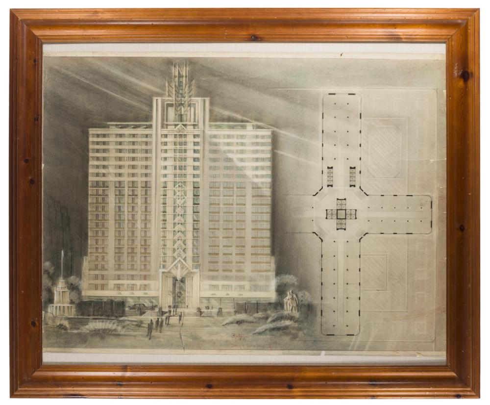 W. Osterson, (20th Century American), An architectural rendering of an Art Deco Building, 1929, Graphite and colored pencil on paper un