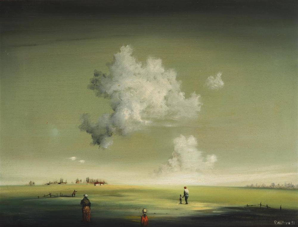"""Robert Watson, (1923-2004 Poway, CA), Figures in an atmospheric landscape, 1951, Oil on canvas, 16.25"""" H x 12.25"""" W"""