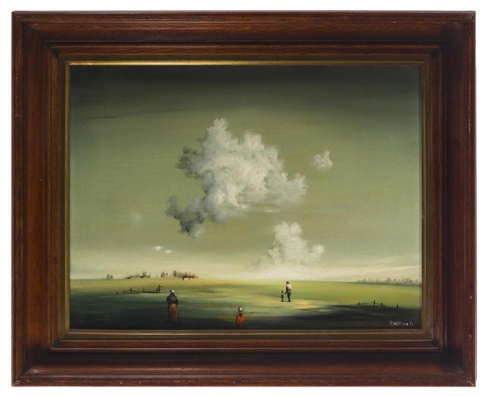 Robert Watson, (1923-2004 Poway, CA), Figures in an atmospheric landscape, 1951, Oil on canvas, 16.25