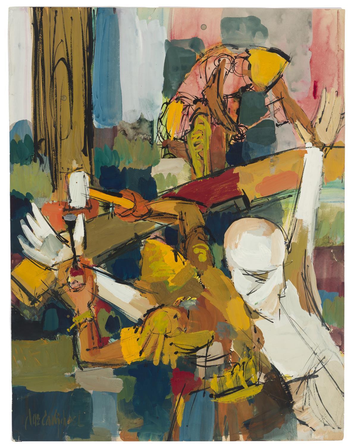 "Jae Carmichael, (1925-2005 Los Angeles, CA), Crucifixion, Watercolor and gouache on paper, Sheet: 22"" H x 17"" W"