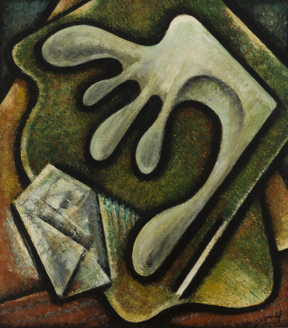 "Hamilton Wolf, (1883-1967 Oakland, CA), ""Greed"", Oil on board, 19.5"" H x 17.25"" W"