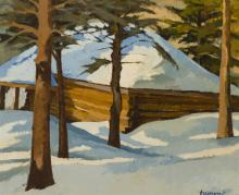 """Alberto Tommi, (1917-1960 Canadian), Cabin in the snow, Oil on panel, 19.25"""" H x 24"""" W"""