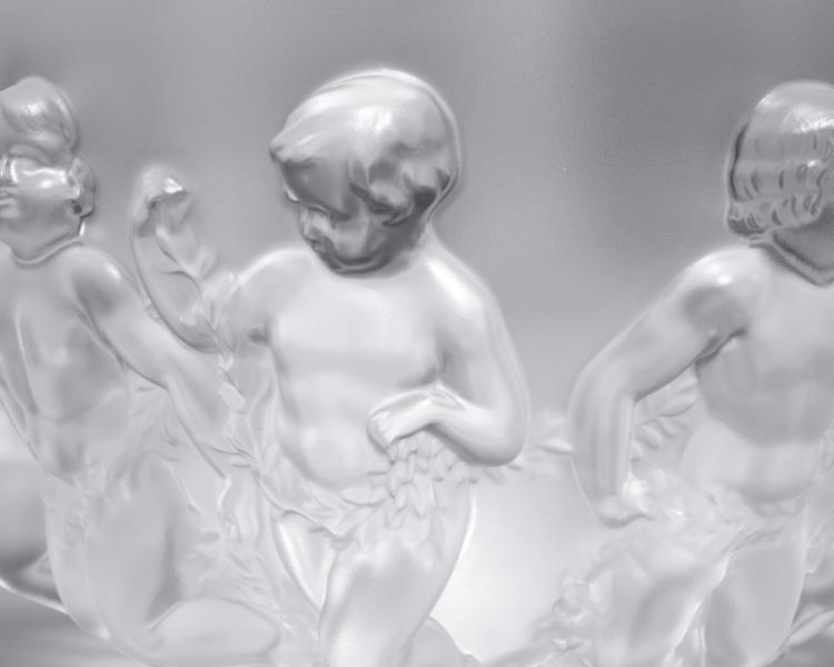 Lalique ''Luxembourg'' art glass centerpiece bowl