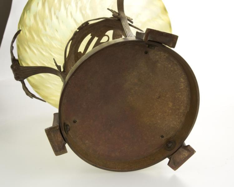 An Art Nouveau bronze-mounted glass centerpiece