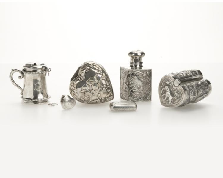 A selection of 6 Continental silver boxes