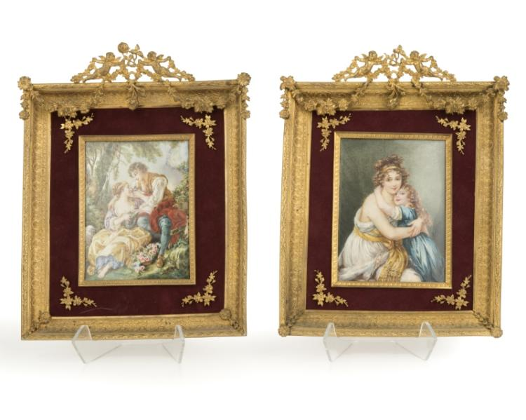 Two framed hand-painted porcelain plaques