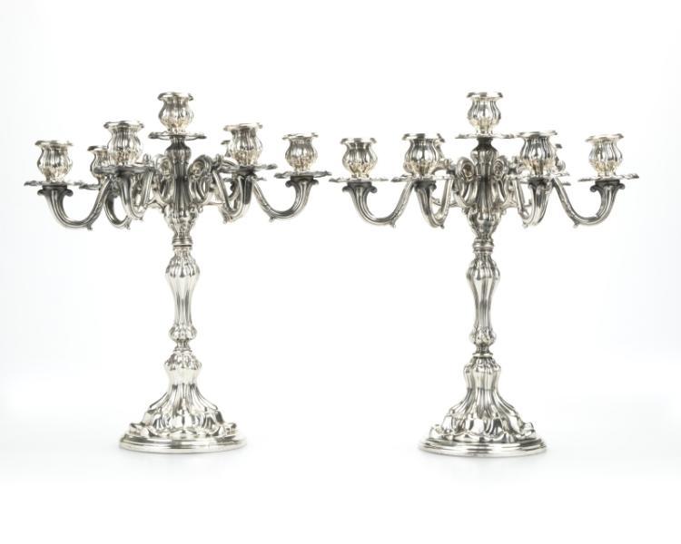 A pair of Italian .800 silver candelabra