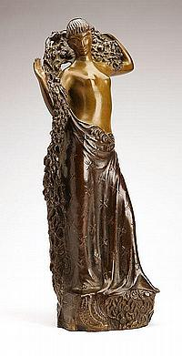Gustave Gillot, a patinated bronze figure of a goddess
