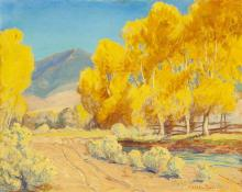 "Sheldon Parsons, (1866 - 1943 Santa Fe, NM), Study for ""Autumn in New Mexico"", Oil on masonite, 15.75"" H x 19.75"" W"
