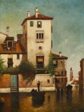"""Hugh Bolton Jones, (1848 - 1927 New York, NY), Venice canal scene, Oil on canvas laid to canvas, 24"""" H x 18"""" W"""
