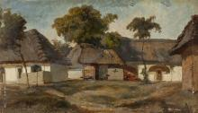 "Karoly Telepy, (1828 - 1906 Hungarian), Village scene, Oil on board, 5"" H x 8.5"" W"