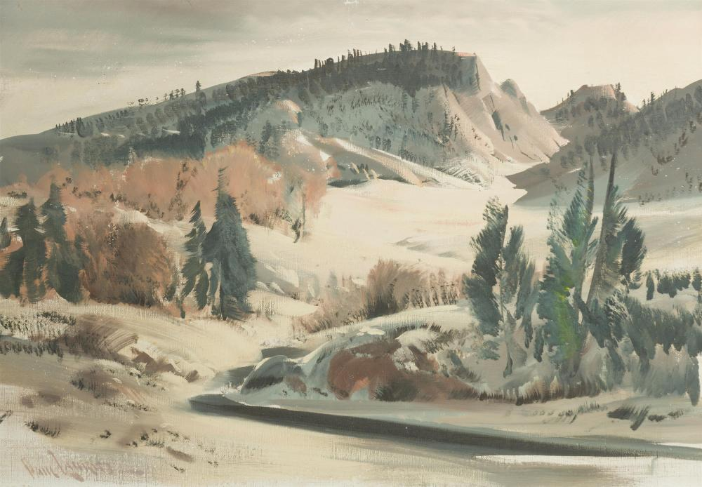 "Paul Lauritz, (1889-1975 Glendale, CA), Hills with pines, Oil on canvas, 24"" H x 34.25"" W"