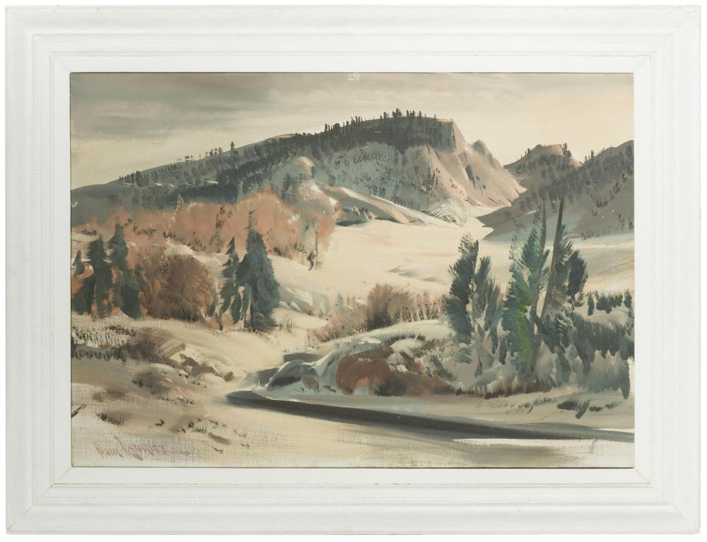 Paul Lauritz, (1889-1975 Glendale, CA), Hills with pines, Oil on canvas, 24