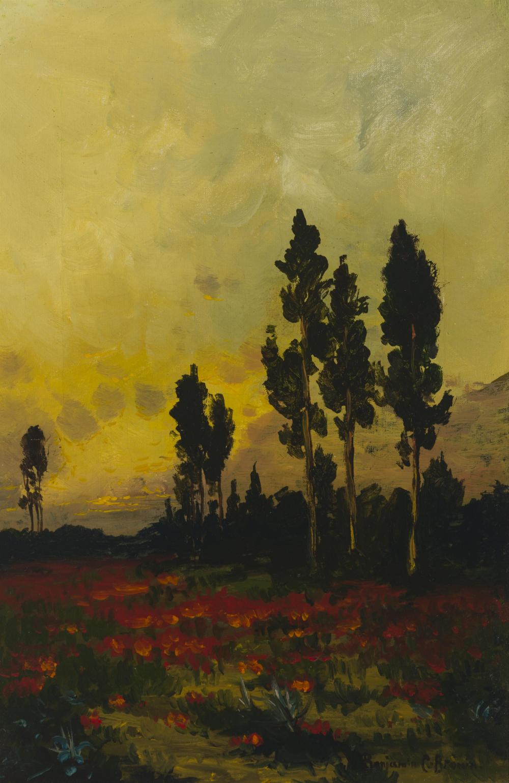 "Benjamin Chambers Brown, (1865-1942 Pasadena, CA), California sunset, Oil on canvas, 18"" H x 12"" W"