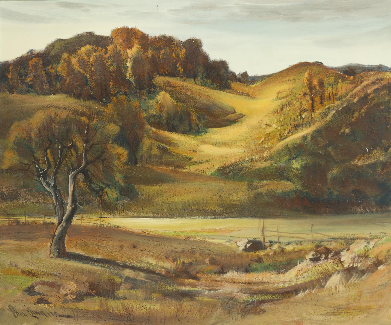 """Paul Lauritz, (1889-1975 Glendale, CA), Golden rolling hills landscape, Oil on canvas, 25"""" H x 30"""" W"""
