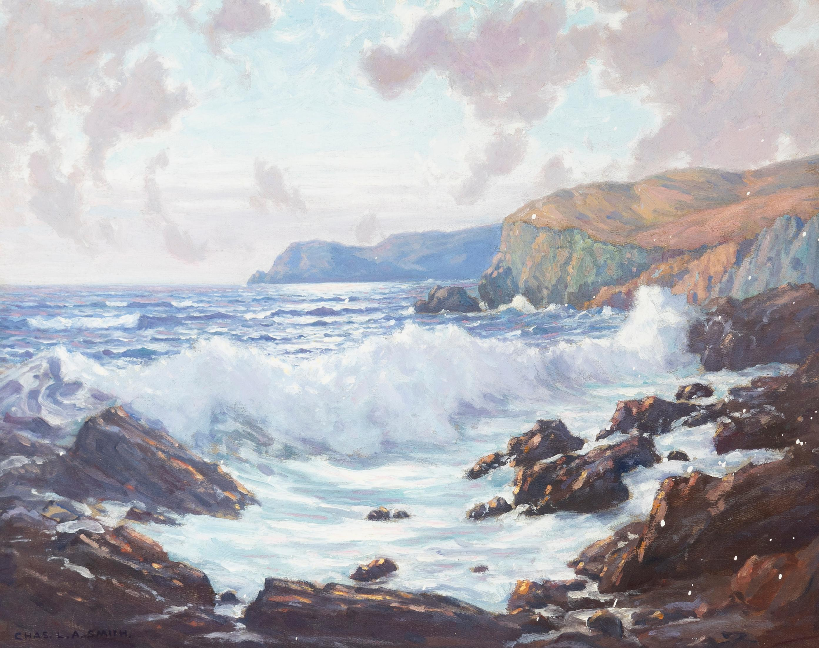 "Charles L.A. Smith, (1871-1937 Los Angeles, CA), Rocky coastal with crashing waves, Oil on canvas, 24"" H x 30"" W"