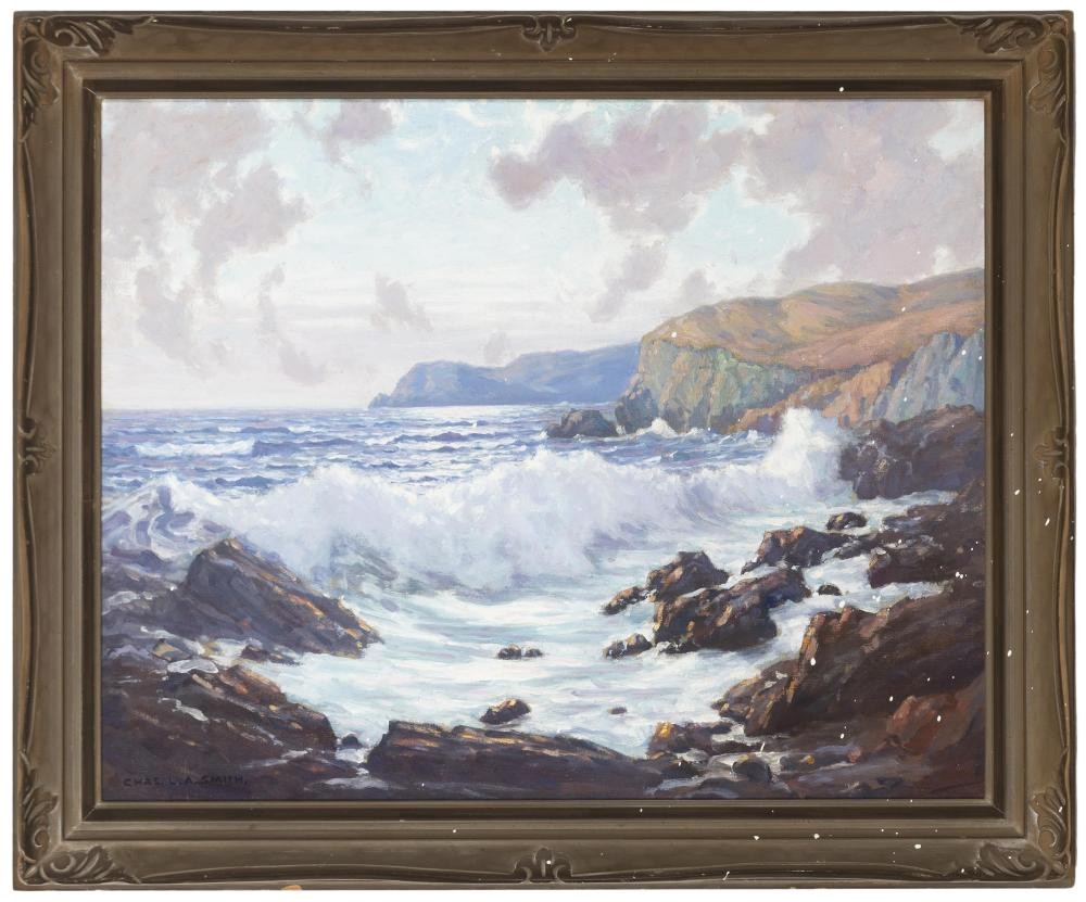 Charles L.A. Smith, (1871-1937 Los Angeles, CA), Rocky coastal with crashing waves, Oil on canvas, 24