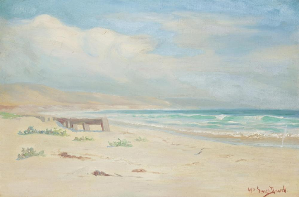 """William Swift Daniell, (1865-1933 Los Angeles, CA), Coastal with clouds, Oil on canvas, 16"""" H x 24"""" W"""