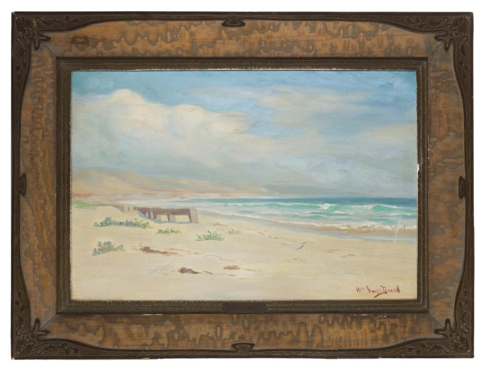 William Swift Daniell, (1865-1933 Los Angeles, CA), Coastal with clouds, Oil on canvas, 16