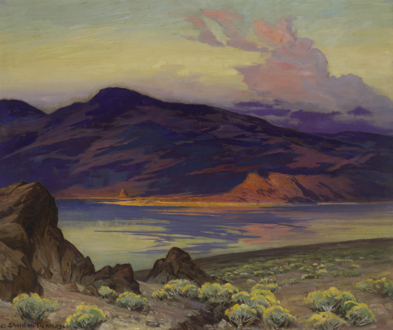 "Albert Sheldon Pennoyer, (1888-1957 New York, NY), ""Pyramid Lake, Nevada"", Oil on canvas, 25.25"" H x 30.25"" W"