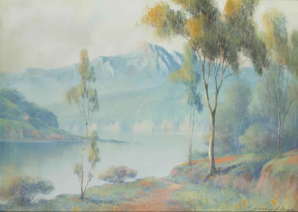 """Harry Linder, (1886-1931 Los Angeles, CA), Lake in a mountain landscape, Pastel on paper under glass, Sight: 15.25"""" H x 21.5"""" W"""