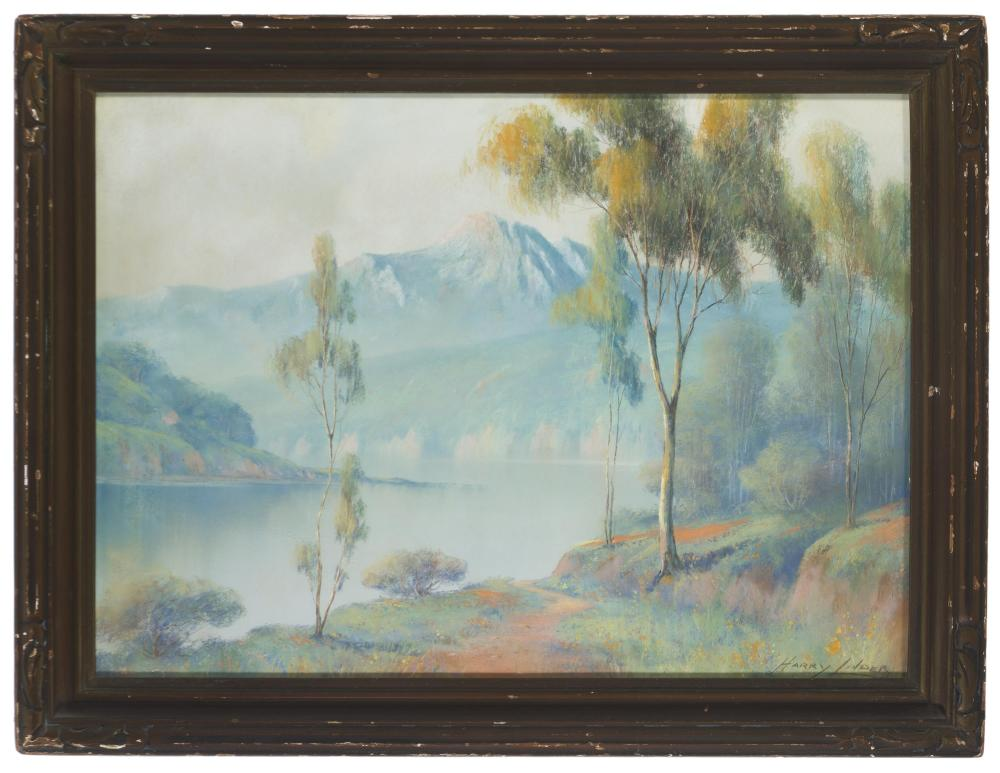 Harry Linder, (1886-1931 Los Angeles, CA), Lake in a mountain landscape, Pastel on paper under glass, Sight: 15.25