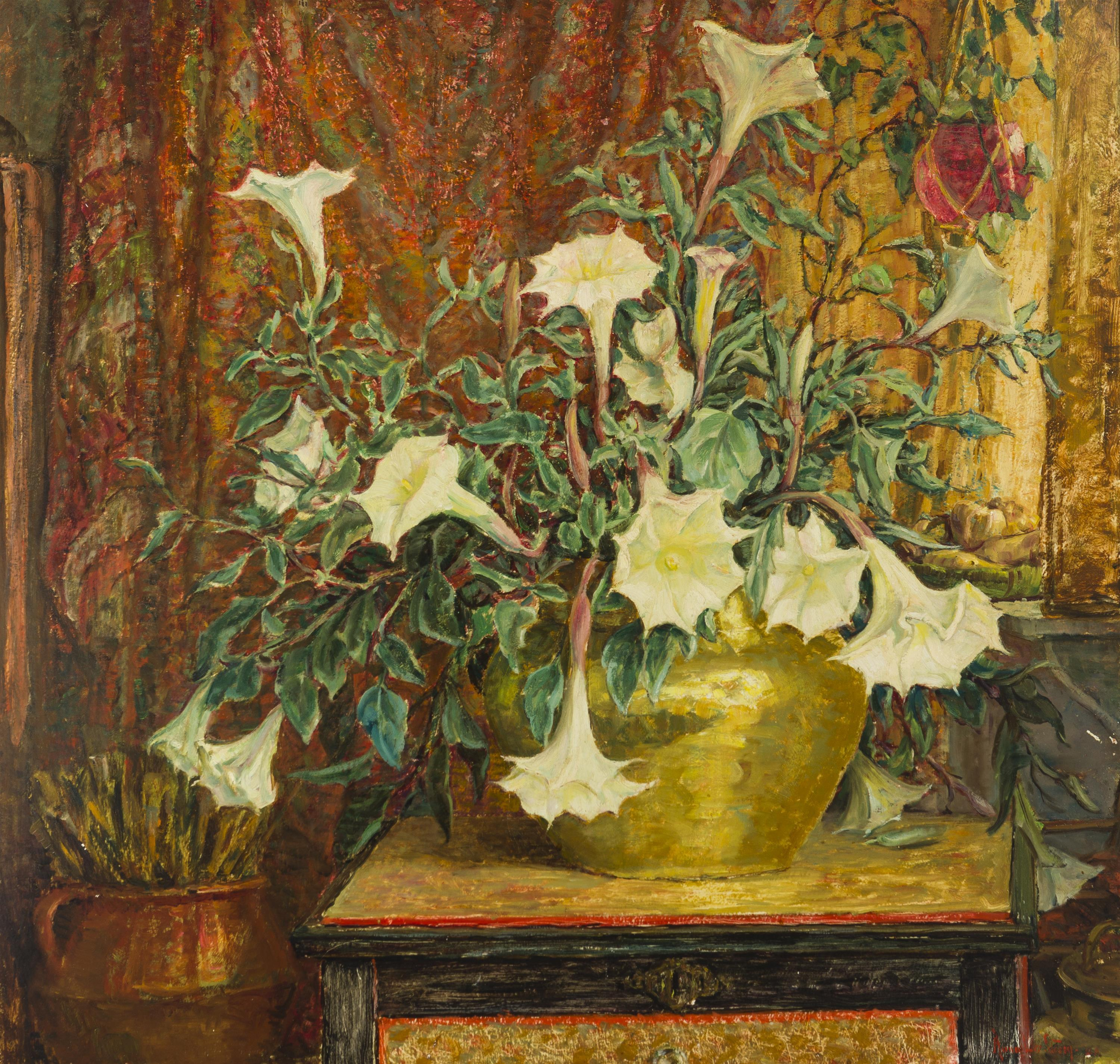 """Anna Lee Stacey, (1865-1943 Pasadena, CA), Still life with angel's trumpet, 1940, Oil on masonite, 34"""" H x 36"""" W"""