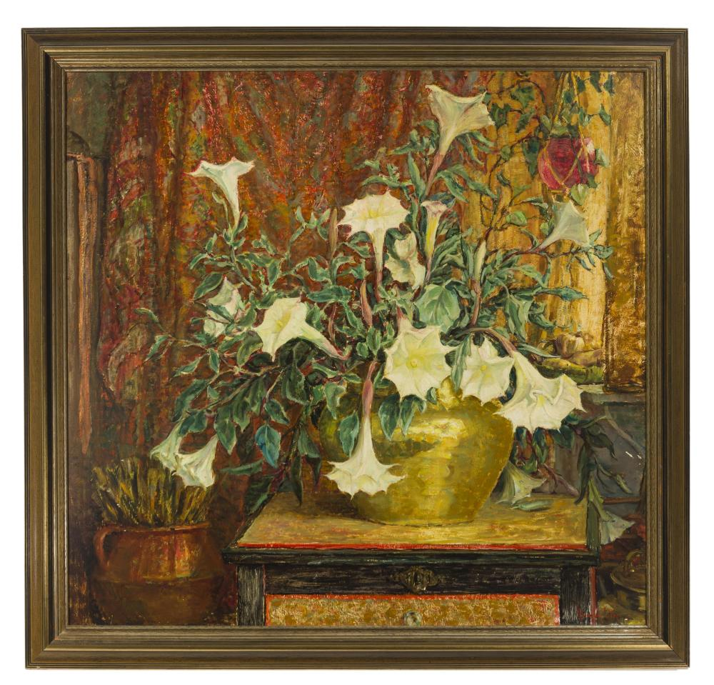 Anna Lee Stacey, (1865-1943 Pasadena, CA), Still life with angel's trumpet, 1940, Oil on masonite, 34