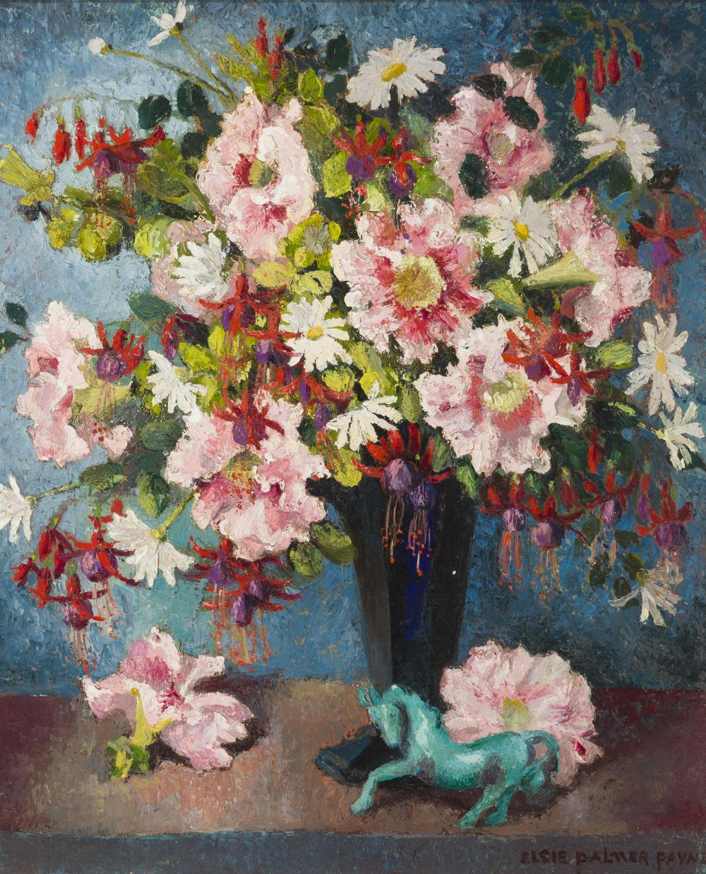 "Elsie Palmer Payne, (1884-1971 Los Angeles, CA), ""Petunias, Fuchsias & Daisies"", Oil on canvas laid to waxed canvas, 24"" H x 20"" W"