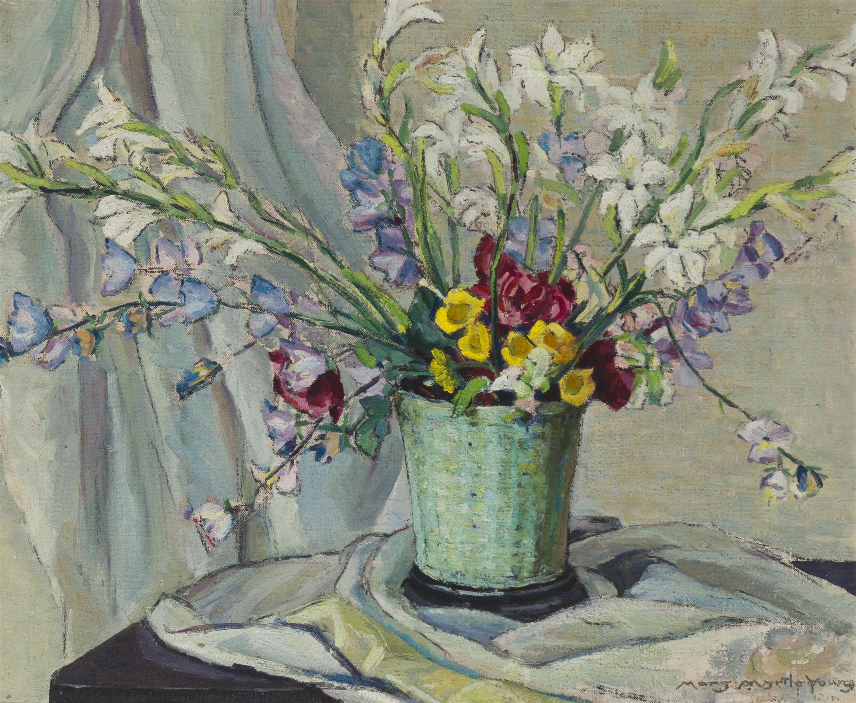 "Myrtle Mary Young Hobart, (1873-1946 San Francisco, CA), ""June Flowers"", Oil on canvas, 20"" H x 24"" W"