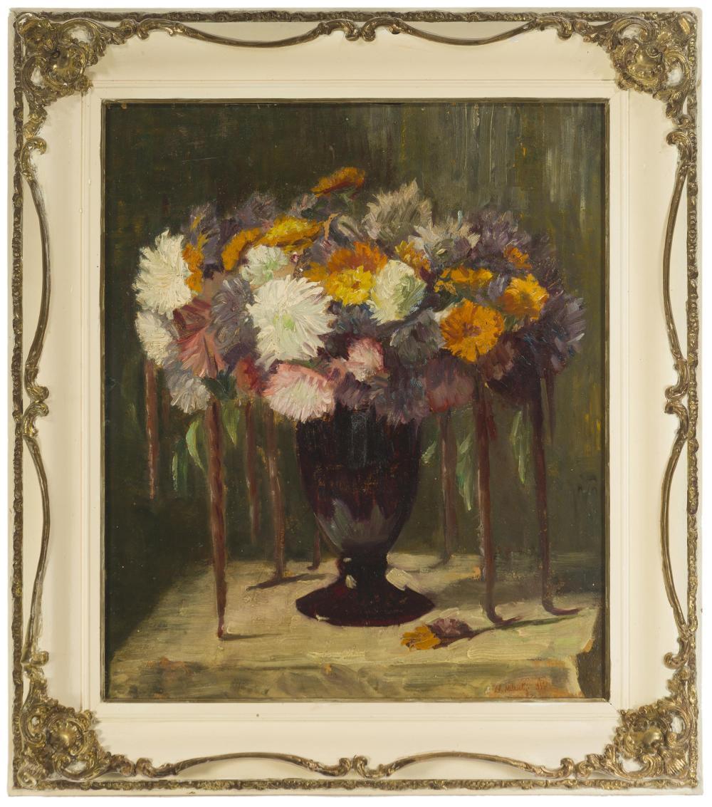 """Nikolai Dimitrievich Milioti, (1874-1962 Russian), Floral still life, 1931, Oil on board, 23.75"""" H x 20"""" W"""