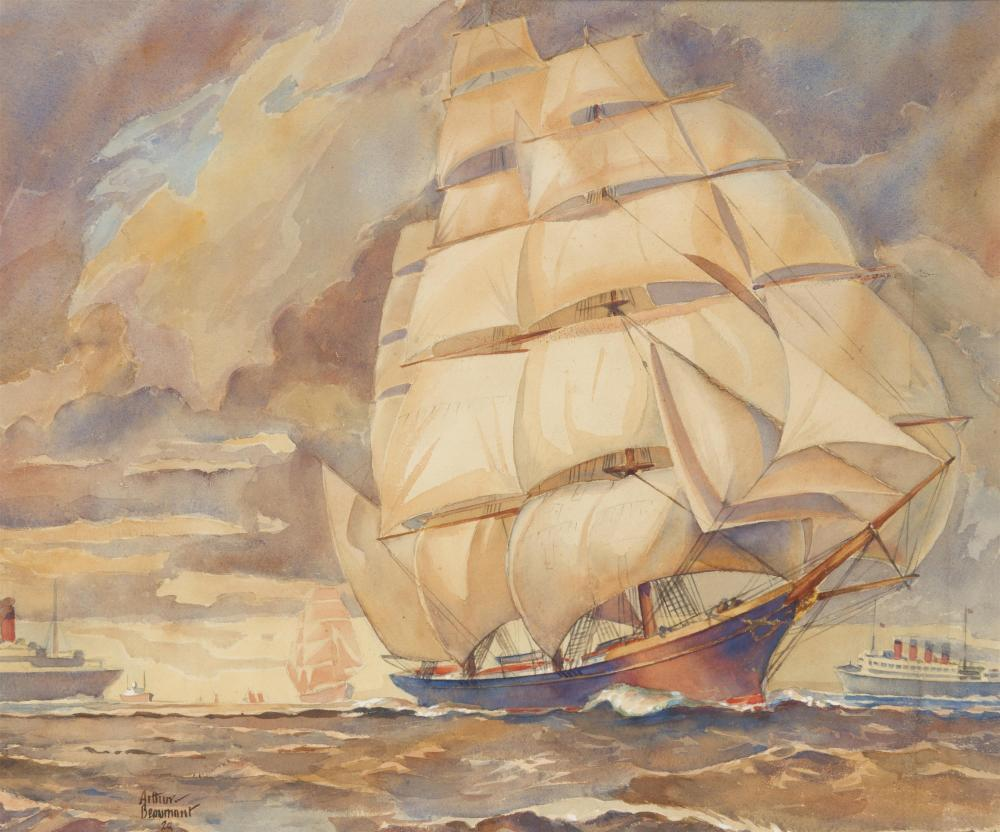 "Arthur E. Beaumont, (1890-1978 Los Angeles, CA), Sailship at sea, 1928, Watercolor on board under glass, Sight: 15"" H x 18"" W"